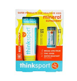 ThinkSport Thinksport Kids Safe Sunscreen Combo Pack: 3oz SPF 50 Sunscreen + SPF 30 Sunscreen Stick