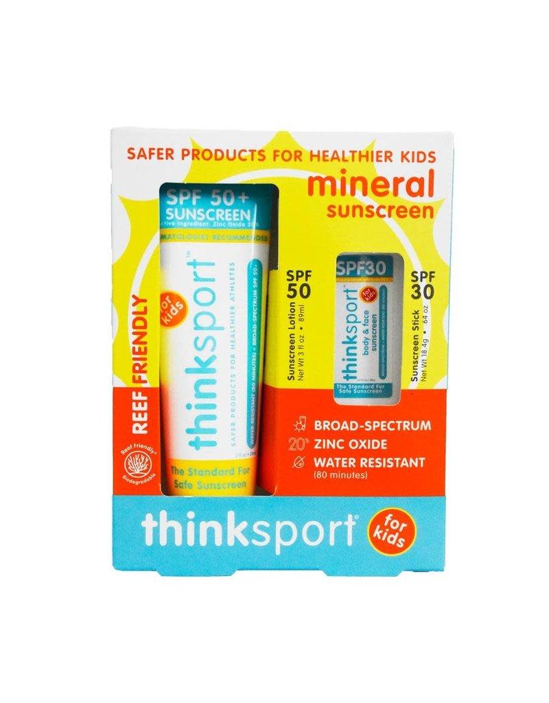 ThinkSport Thinksport Kids Safe Sunscreen Combo Pack: 3oz SPF 50 Sunscreen + SPF 30 Sunscreen Stick