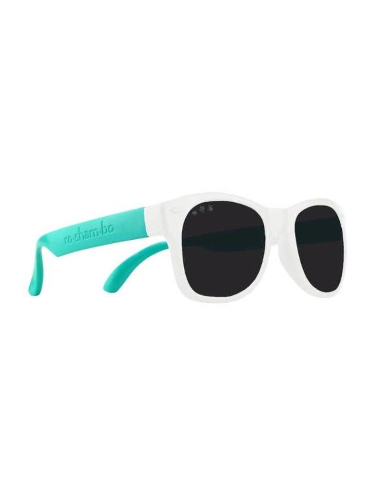 Roshambo 90210 White & Teal Baby Sunglasses: Polarized