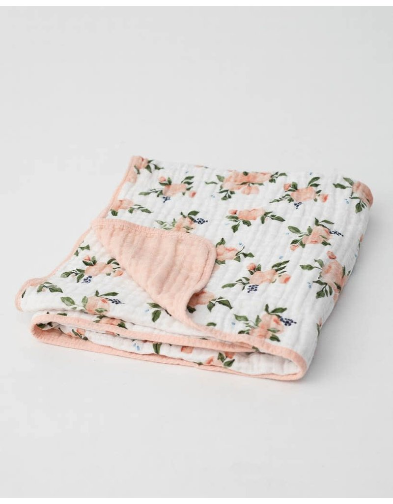 Little Unicorn Cotton Muslin Baby Quilt - Watercolor Roses