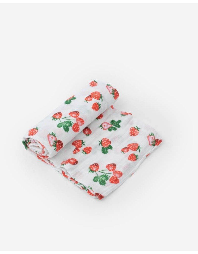 Little Unicorn Cotton Muslin Swaddle Blanket - Strawberry Patch