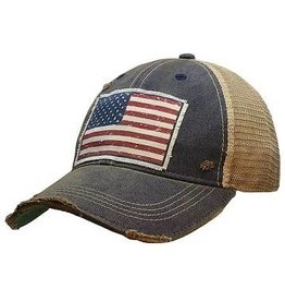 Vintage Life American Flag USA Distressed Trucker Cap