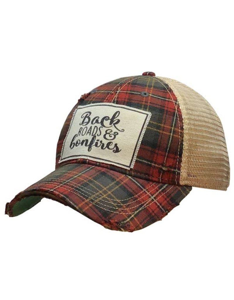 Vintage Life Back Roads & Bonfires Distressed Trucker Cap