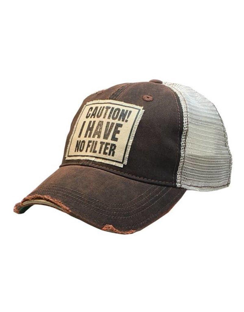 Vintage Life Caution! I Have No Filter Distressed Trucker Cap