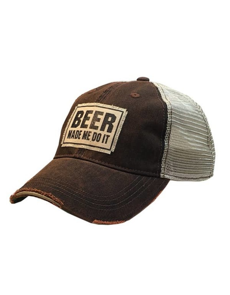 Vintage Life Beer Made Me Do It Distressed Trucker Cap