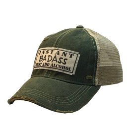 Vintage Life Instant BADASS Just Add Alcohol Distressed Trucker Cap