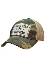 Vintage Life Boots Beer & Bonfires Distressed Trucker Cap