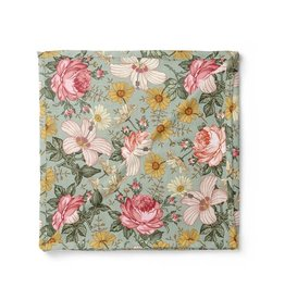 Mini Scout LLC Garden Floral Swaddle  Sea Foam