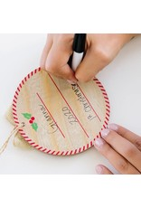 Pearhead Fill In Print Ornament and Paint Kit, Rustic Burlap Ribbon