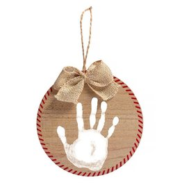 Pearhead Fill In Print Ornament and Paint Kit, Rustic Burlap Ribbon