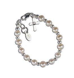 Sterling Silver Freshwater Pearl Cross Baptism Bracelet