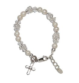 Cherished Moments Krista - Sterling Silver Pearl Cross Bracelet