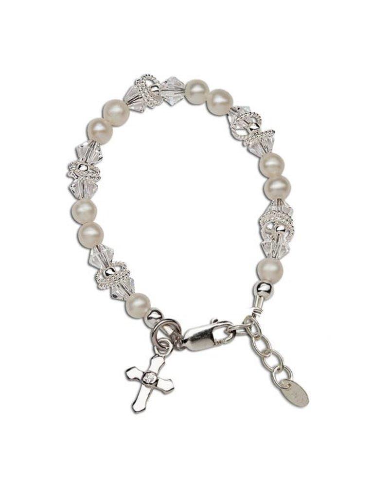 Krista - Sterling Silver Pearl Cross Bracelet