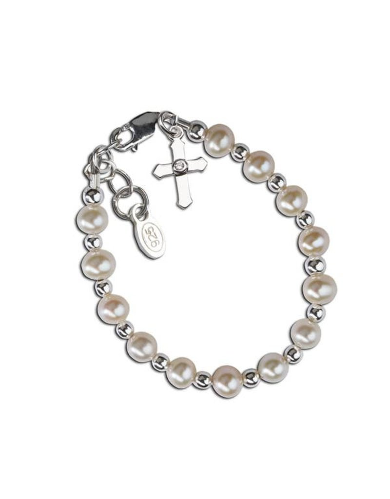 Cherished Moments Kaitlyn - Sterling Silver Pearl Cross Bracelet