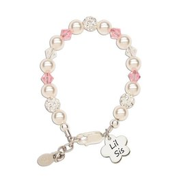 Cherished Moments Lil Sis (Flower) - Sterling Silver Little Sister Bracelet