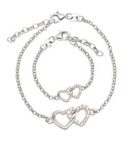 Cherished Moments Mom and Me Bracelet 2-Piece Set - Silver Hearts