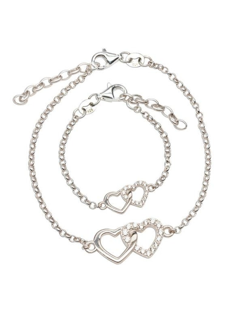 Mom and Me Bracelet 2-Piece Set - Silver Hearts