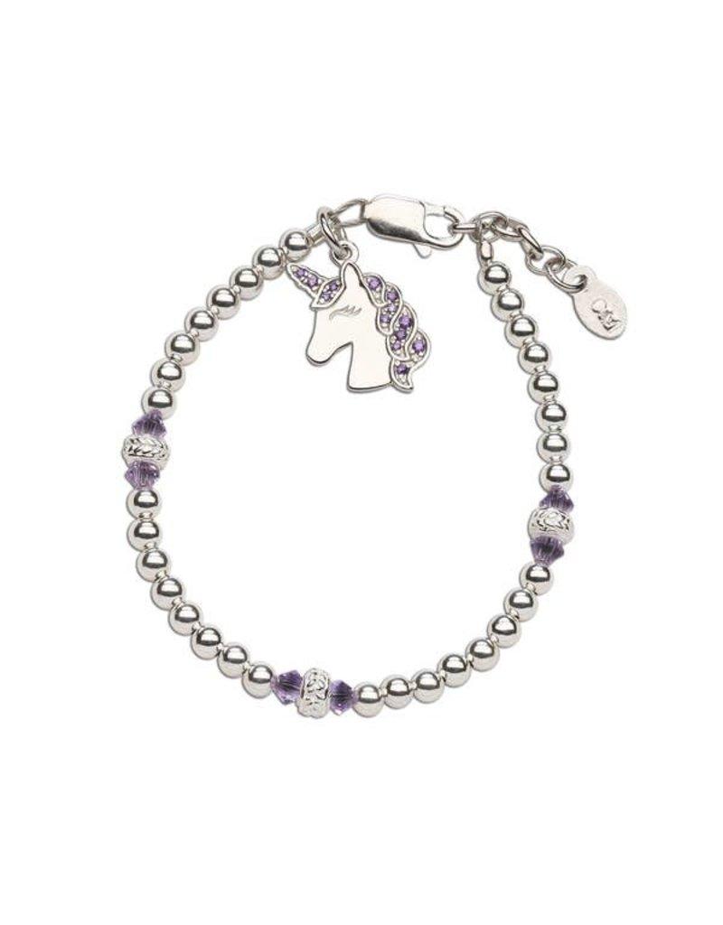Cherished Moments Unicorn (Lavender) - Sterling Silver Unicorn Bracelet
