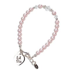 Cherished Moments Lil Sis (Pink) - Sterling Silver Little Sister Bracelet