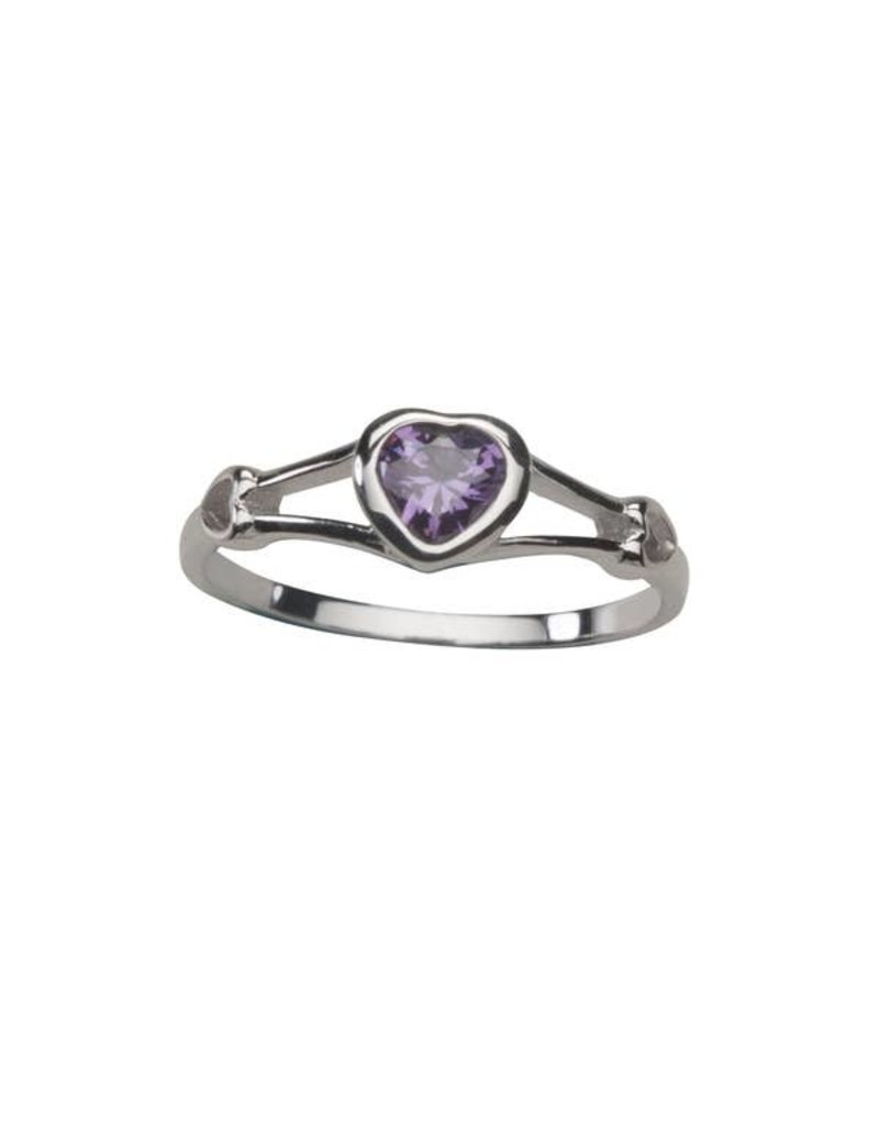 Sterling Silver Baby Ring with CZ Heart