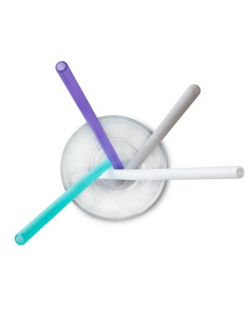 go sili Silicone X-Long Straws 4pk - Fog Blue/Teal/Sky/Mint