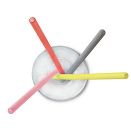 go sili Silicone X-Long Straws 4pk - Red/Yellow/Sky/Pink