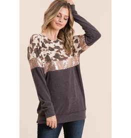 Veveret Top with cow print/ sequence colorblock -Small