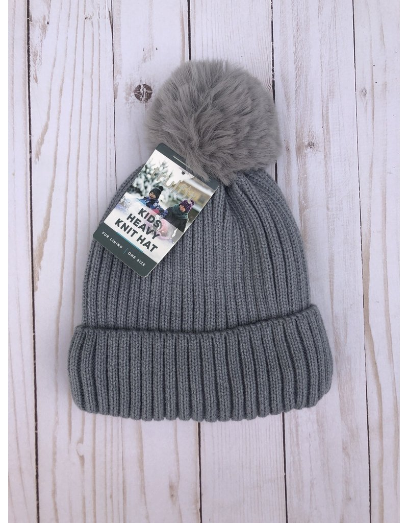 Insulated Heavy Knit Hat with puff