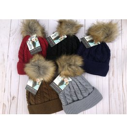 Insulated Heavy Cable Knit Hat with puff