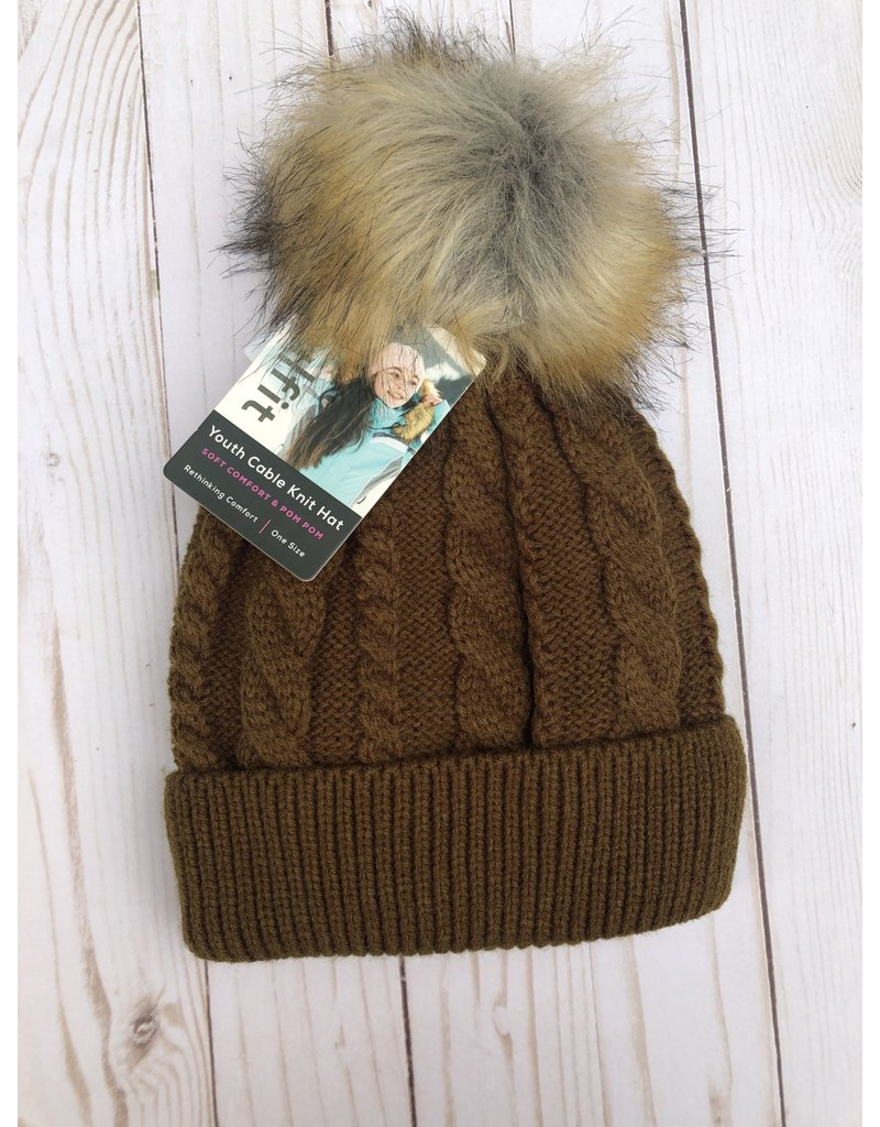 Swanky Babies Insulated Heavy Cable Knit Hat with puff