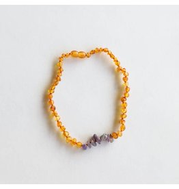 "CanyonLeaf 11"" Raw Honey Amber + Raw Amethyst  necklace"