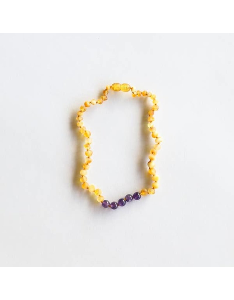 "CanyonLeaf 11"" Raw Honey Amber + Round Raw Amethyst  necklace"