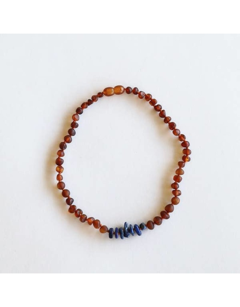 "CanyonLeaf 11"" Baltic Amber Necklace + Lapis Stones  necklace"