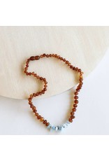 "CanyonLeaf 11"" Raw Cognac Amber + Amazonite   necklace"