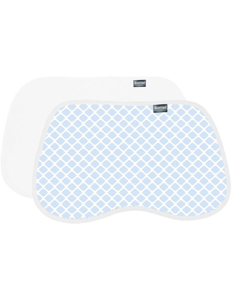 Kushies 2pk Burp pads - Blue/whtie