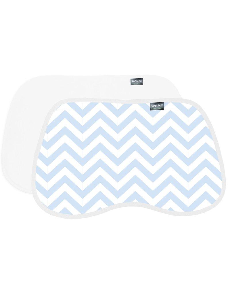Kushies 2pk Burp pads - blue cheveron/white