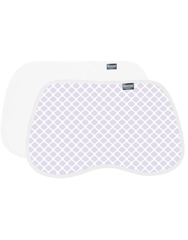 Kushies 2pk Burp pads - lilac/white