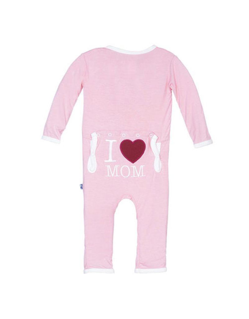 Kickee Pants Holiday Fitted Applique Coverall (Lotus I Love Mom - Preemie)