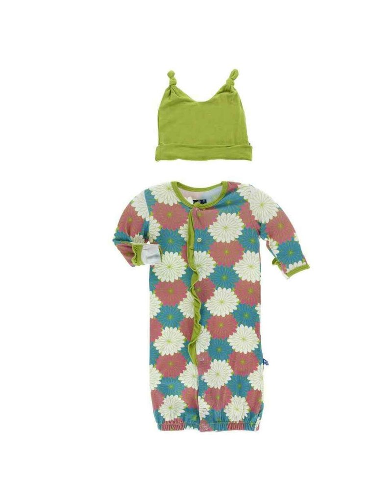 Kickee Pants Print Ruffle Layette Gown Converter and Double Knot Tropical Flowers
