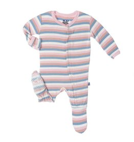 Kickee Pants Print Footie (Girl Salty Sea Stripe - Preemie)