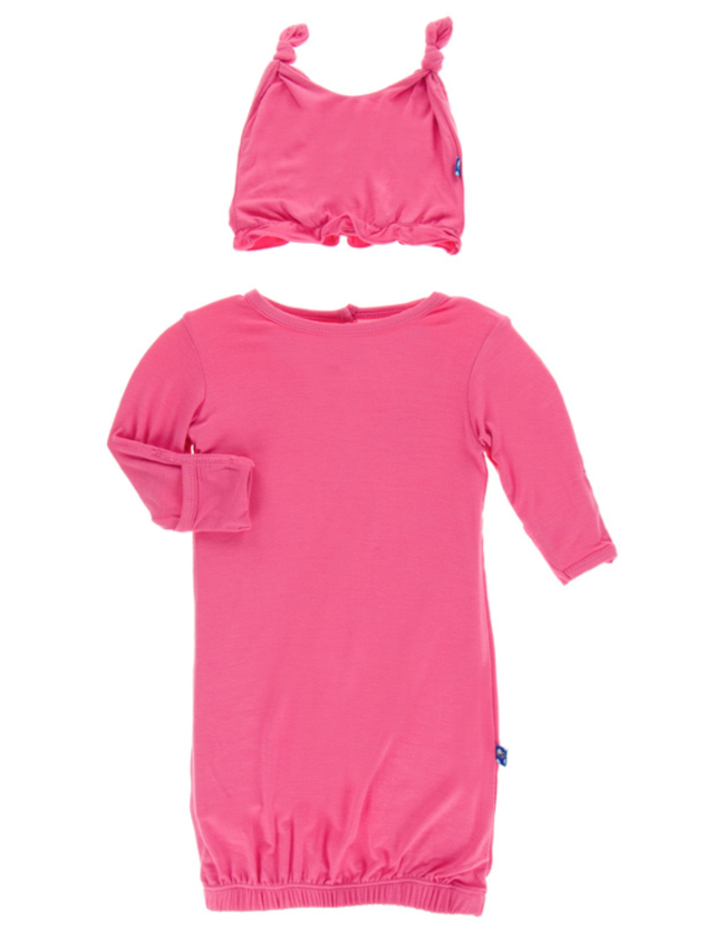 Kickee Pants Solid Layette Gown & Knot Hat Set Flamingo