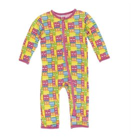 Kickee Pants Print Coverall w/ Zipper Natural Houses