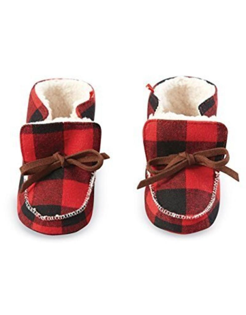 Mud Pie Buffalo Check Booties 0-6 months