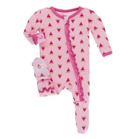 Kickee Pants Muffin Ruffle Footie w/Zipper Lotus Watermelon