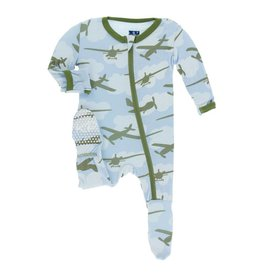 Kickee Pants Print Footie with Zipper Pond Airplanes