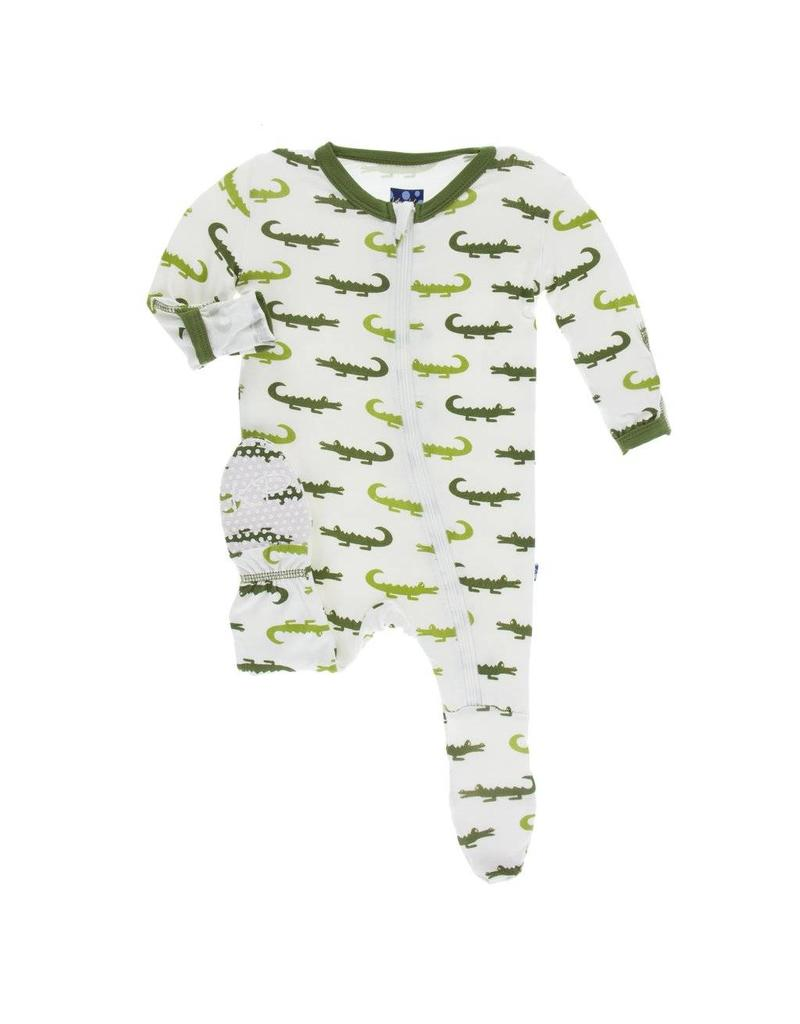 Kickee Pants Print Footie with Zipper Natural Crocodile