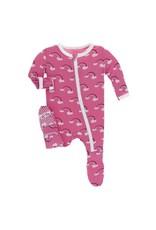 Kickee Pants Print Footie with Zipper Flamingo Rainbow