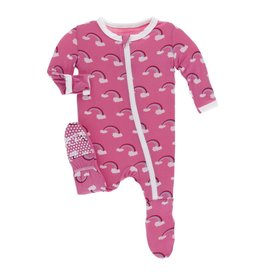Kickee Pants Print Footie with Zipper Flamingo Rainbow