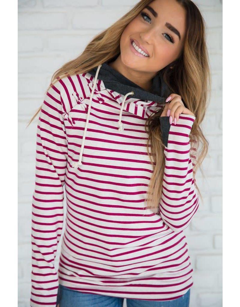 AmpersandAve DoubleHood™ Sweatshirt- Knotted Magenta Stripe
