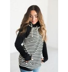 AmpersandAve DoubleHood™ Sweatshirt - Black Stripe Baseball